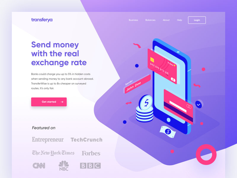 Transferya Landing Page Concept bitcoin credit card ui homepage landing page illustration isometric currency bank payment cash money
