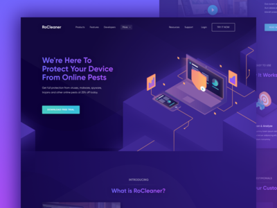 Landing Page Rocleaner isometric homepage ui landing page website secure optimize maintenance service repair cleaning cleaner