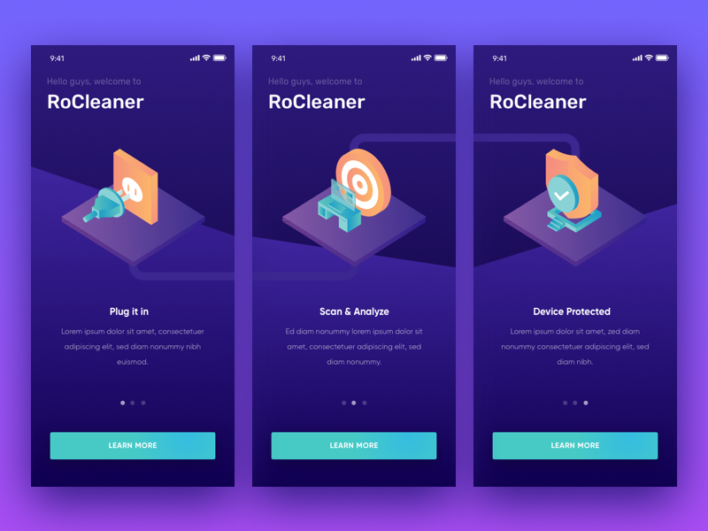 Onboarding Rocleaner onboarding isometric app ui illustration secure optimize maintenance service repair cleaning cleaner
