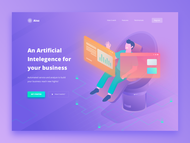 Aioz Artificial Intelegent Landing Page track growth artificial intelegence business smart ai website automation chart isometric landing page