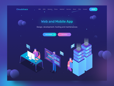 Cloudshare Web and Mobile App Service dekstop remote work agency services crypto currency crypto isometric homepage landing page illustration ui