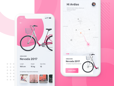Sharing Bike App smart ai minimalism clean pink photo sport cycle map ecommerce buy navigation parking booking rent sharing bike app ui