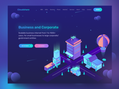 Business and Corporate App Service business house dark work ui services building baloon city isometric illustration homepage crypto currency crypto landing page agency