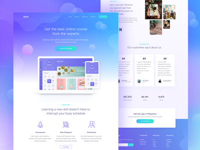 DIY Course Landing Page gradient teach homepage online author clean tutorial website ui udemy school lesson learning e-learning education dashboard course