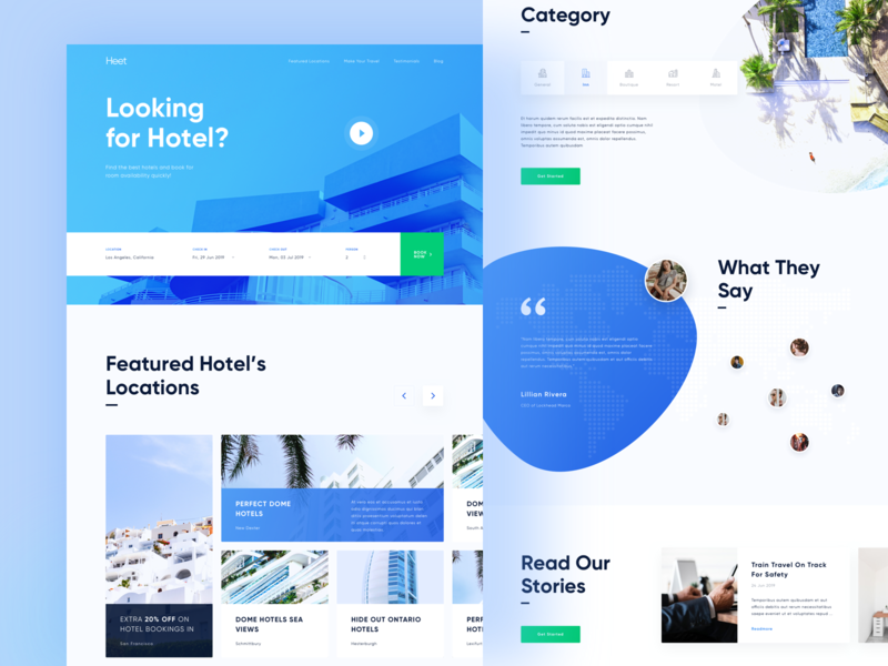 Heet - Hotelier Landing Page Preview ui landing page homepage website home house hotel room booking book real estate rent sell mortgage app clean