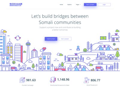 Sokaab - Crowdfunding Landing Page icon invest movement social money collect donation fund fundraising crowdfunding homepage landing page header illustration line website