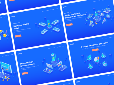 7 Cryptocurrency Isometric Illustration homepage dashboard landing page header illustration isometric ui kit bitcoin cryptocurrency ui8 money currency crypto wallet trading mining