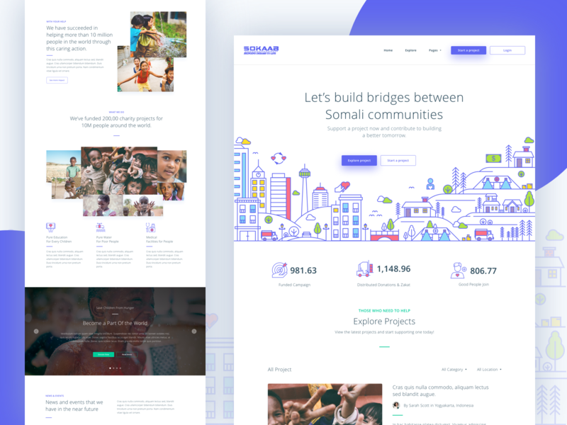Sokaab - Crowdfunding Landing Page website line illustration header landing page homepage crowdfunding fundraising fund donation collect money social movement invest icon