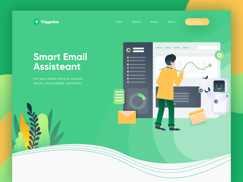 Triggmine - Email Assistant Landing Page app control artificial intelligence robot website ai assistant smart email dashboard homepage landing page illustration ui