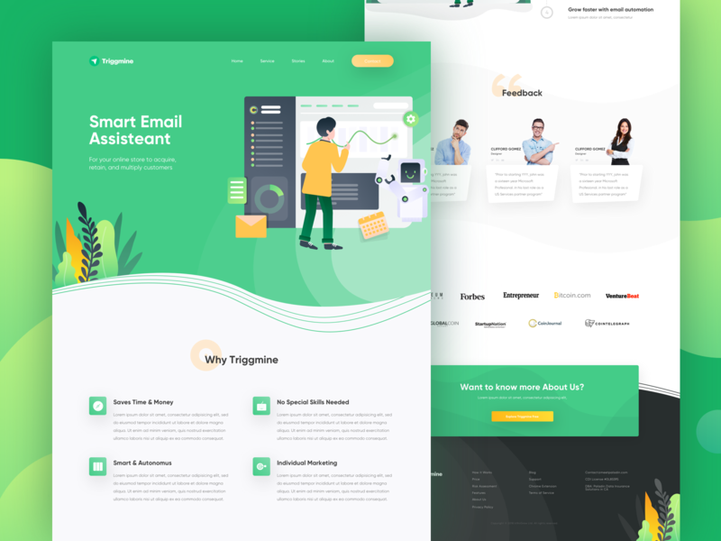 Triggmine - Email Assistant Landing Page profile tech company green ai artificial intelligence control robot assistant smart email ui website homepage landing page illustration dashboard