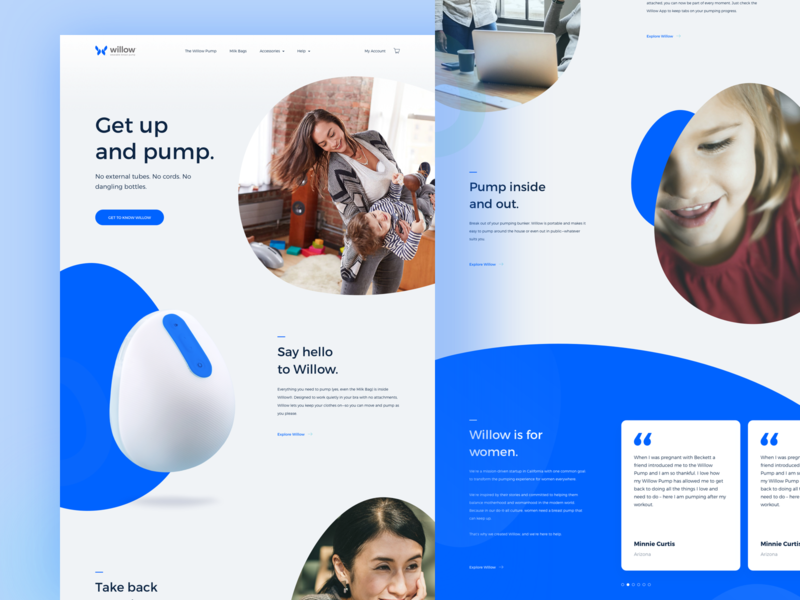 Willow - Breast Landing Page simple smart ai technology health cup breast clean design homepage website landing page ui