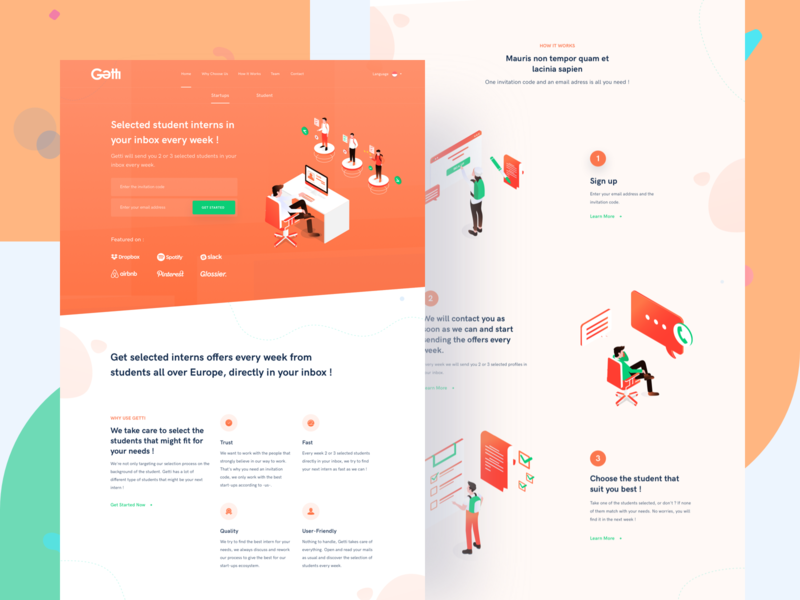 Getti Startup Landing Page freelance work micro job marketplace platform connect startup internship student ui website illustration isometric landing page homepage