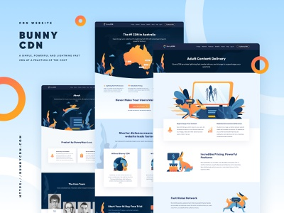 BunnyCDN Landing Page - About about security data storage cloud internet hosting vpn cdn redesign illustration landing page website homepage
