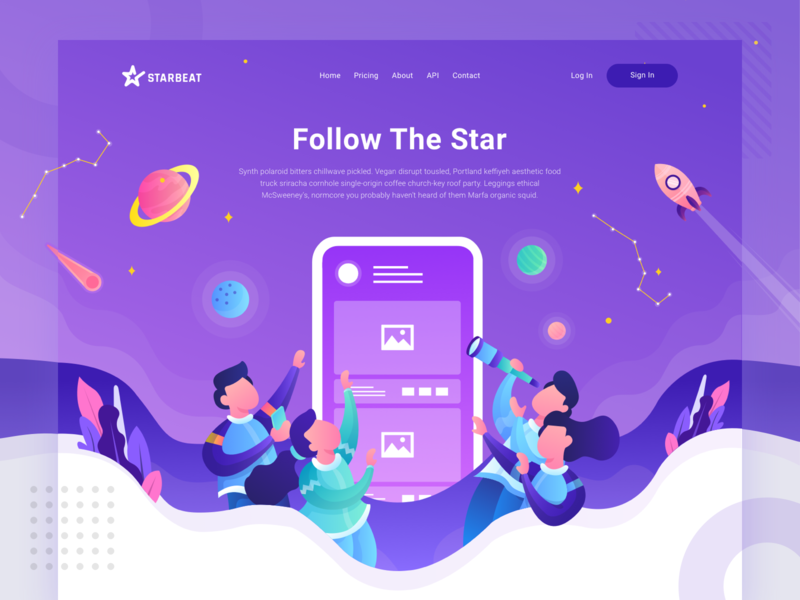 Starbeat Header Illustration - Follow The Star space city community photo interaction connect social media compete purple illustration header website landing page homepage
