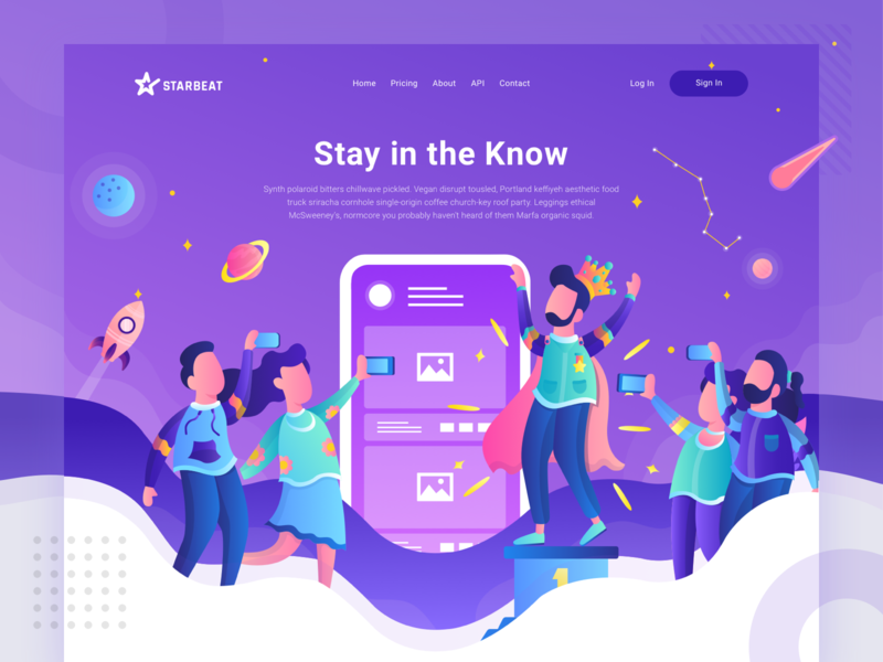 Starbeat Header Illustration - Stay winner city community photo interaction connect social media compete purple illustration header website landing page homepage