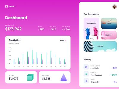 Duitku Money Management Dashboard pink sass crm dekstop web money management saving money chart clean dashboard app ui website homepage