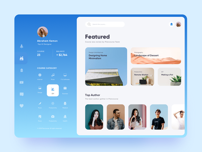 Plancourse Training Dashboard chart author student education training online course clean web design website dashboard homepage ui app