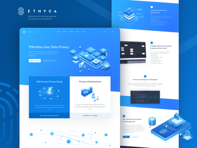 Ethyca Cloud Data Privacy Homepage Landing Page enterprise infrastructure cloud management data driven code privacy user data ui isometric illustration web design landing page homepage