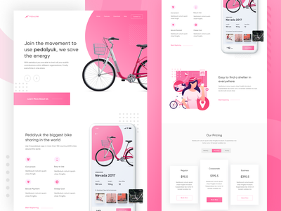 Pedalyuk - Bike Sharing App Landing Page ui booking parking pink smart sport minimalist rent cycle sharing bike illustration app web design landing page homepage