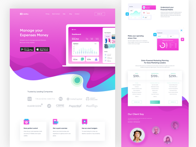 Duitku Money Management Landing Page product pink chart saving ui spend control management money homepage dashboard web design landing page