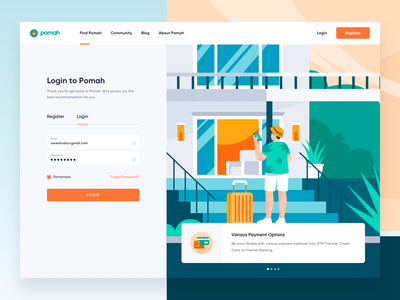 Pomah Rent House -  Login Page payment ui app illustration web design register login sign in page house rent home booking hotel room real estate