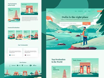 Dolin - Travel Landing Page web design hotel booking dashboard tour place destination trip travel flat illustration website landing page ui homepage