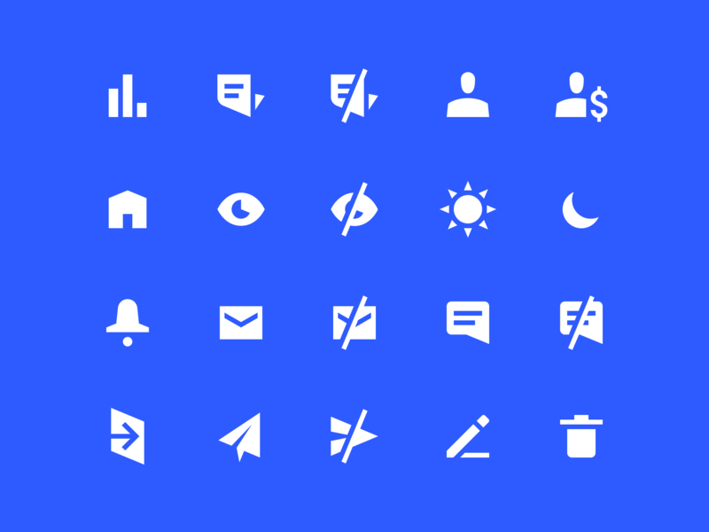 Icons edit send mail chat user notifications statistics icon set basic ui interface set vector shapes 24px geometric grid simple billing icons