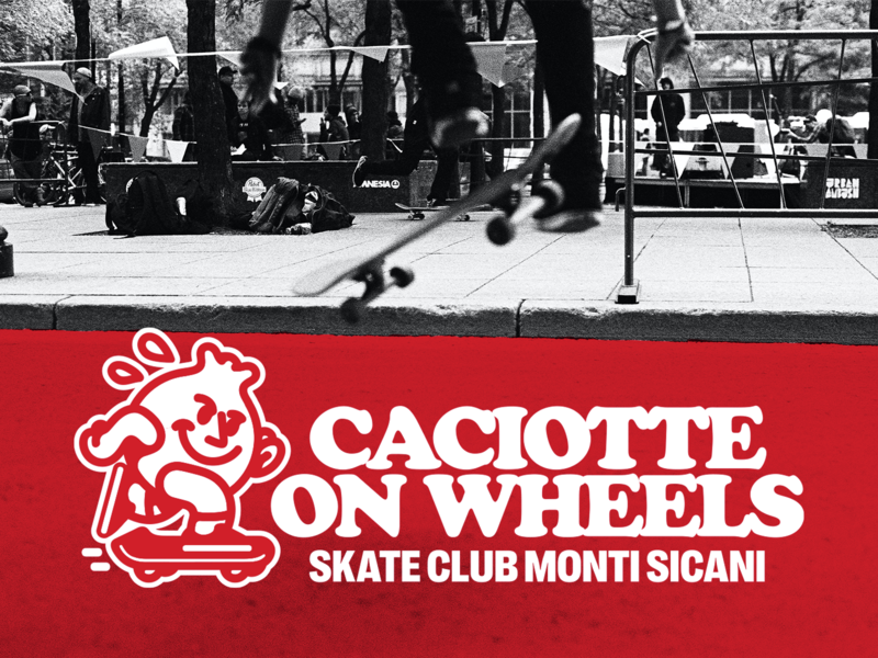Caciotte on Wheels Skate Club III identity t-shirt design branding logo lettering typography design graphic design illustration
