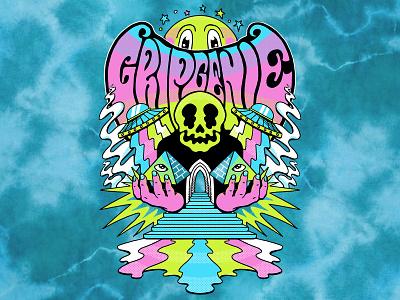 GRIP GENIE - Hallucination mushrooms psychedelic merch t-shirt design graphic design illustration