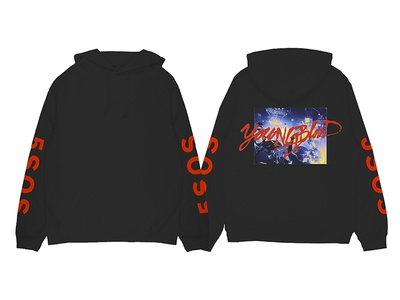 Youngblood red hoodie music band t-shirt design fashion streetwear typography merch design t-shirt graphic design
