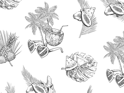 Summer vibes pattern fashion graphic design illustration