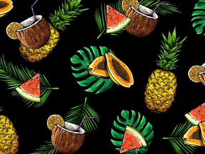 Exotic Pattern tropical fruit pattern fashion graphic design illustration