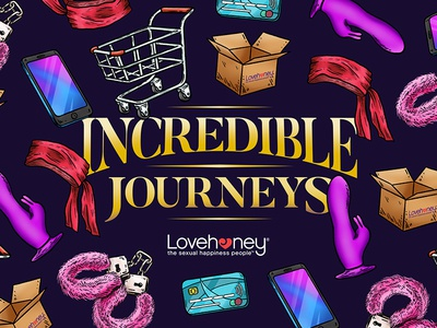 Incredible Journeys toys sex ecommerce event pattern lettering typography design illustration