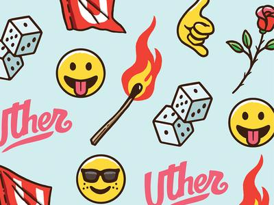 Uther emojis pattern branding vector design graphic design emojis pattern illustration