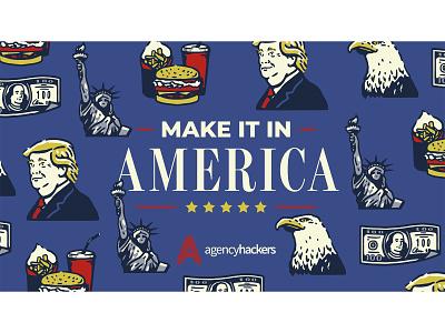 Make it in America pattern vector typography design graphic design illustration