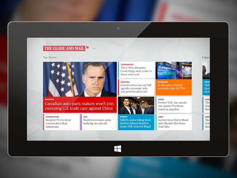 The Globe & Mail's Windows 8 News App by Luc on Dribbble