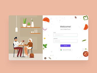 Food Ordering Website Login Page UI Design food order food