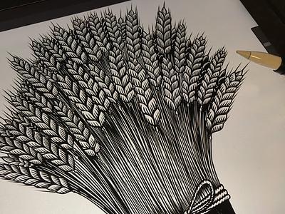 Sheaf of wheat woodcut engraving procreate bakery wheat sheaf