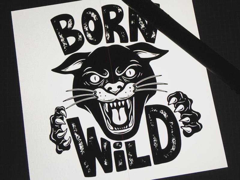 Born Wild vintage wild poster procreate wild cat lion pantera
