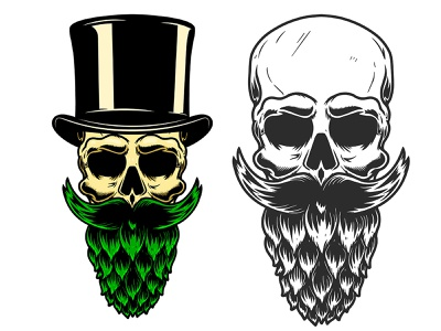Hop beard illustration beard hop beer vector art procreate vintage brand mark skull logo