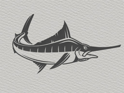 Marlin logo bw brand mark ocean seafood illustration vector fishing logo swordfish marlin