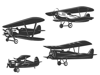 Airplane icons flying aviation logo design pilot propeller logo plane airplane