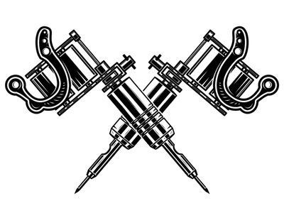 Crossed tatoo machines