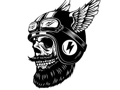 Racer skull in winged helmet badge chopper motor extreme racer wings wheel piston biker skull