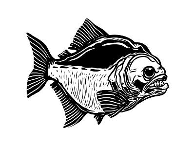 Piranha scary fishing vector angry fish piranha