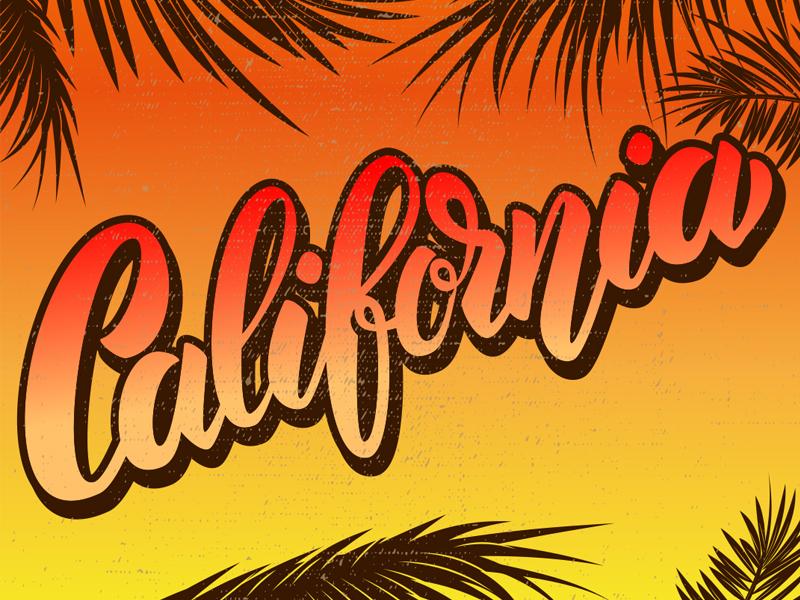 California! vacation graffiti bounce lettering summer logo lettering california