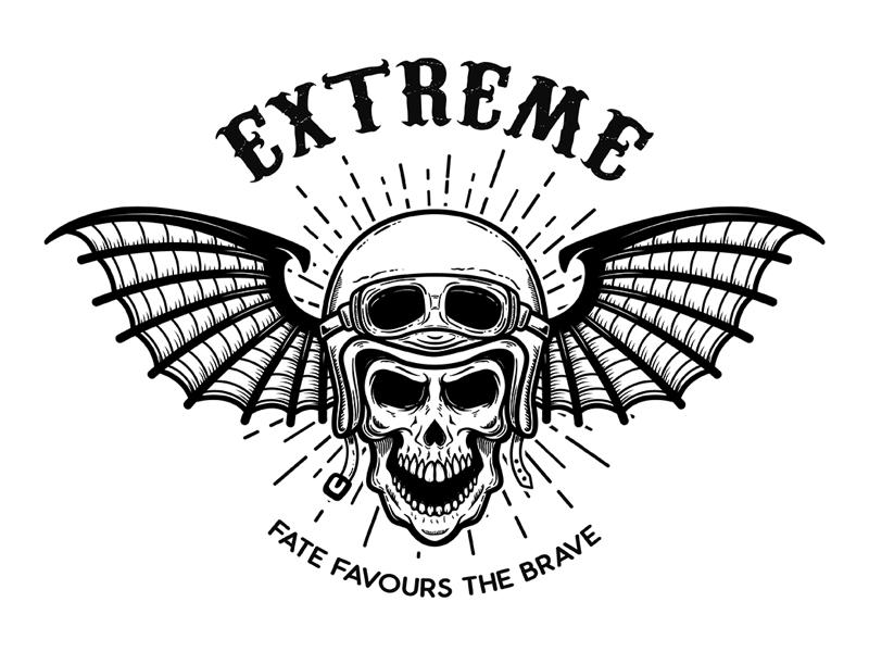 Racer skull in winged helmet logo biker gang t shirt designs biker skull racers