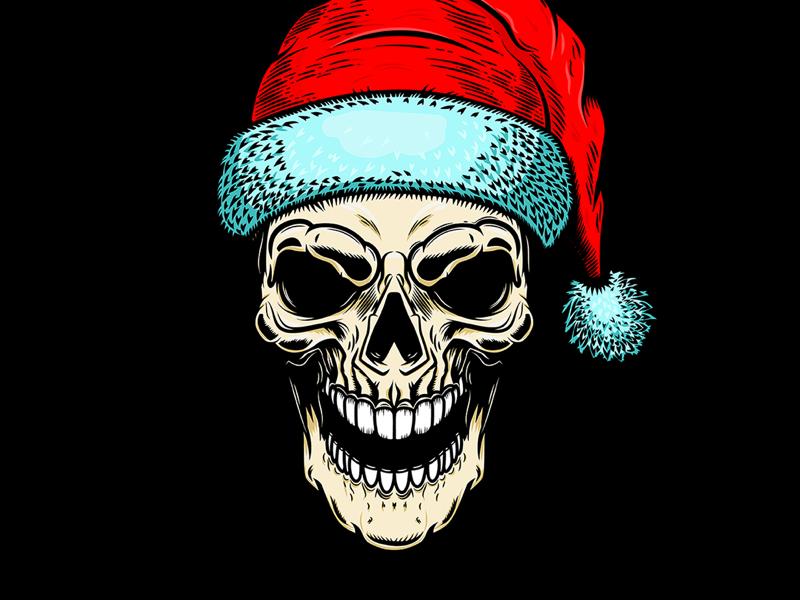 Bad Santa halloween logo skull christmas dead santa zombie new year santa