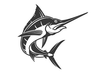 Swordfish design vintage brand mark fish logo vector marlin fishing logo swordfish