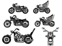 Illustrations of motorcycles